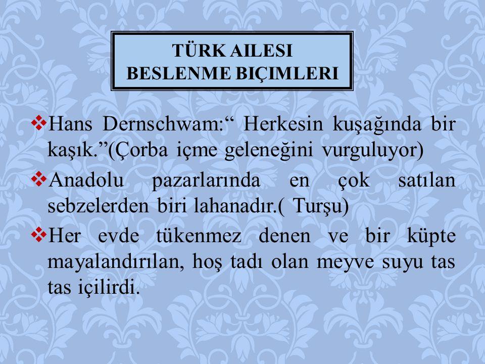  Hans Dernschwam: Herkesin kuşağında bir kaşık. (Çorba içme geleneğini vurguluyor)  Anadolu pazarlarında en çok satılan sebzelerden biri lahanadır.( Turşu)  Her evde tükenmez denen ve bir küpte mayalandırılan, hoş tadı olan meyve suyu tas tas içilirdi.