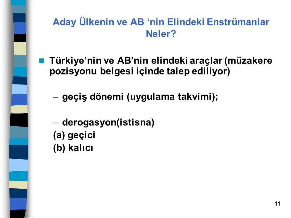 11 Türkiye'nin ve AB'nin elindeki araçlar (müzakere pozisyonu belgesi içinde talep ediliyor) –geçiş dönemi (uygulama takvimi); –derogasyon(istisna) (a) geçici (b) kalıcı Aday Ülkenin ve AB 'nin Elindeki Enstrümanlar Neler