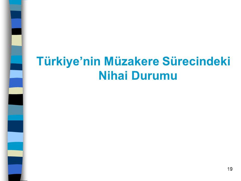 19 Türkiye'nin Müzakere Sürecindeki Nihai Durumu