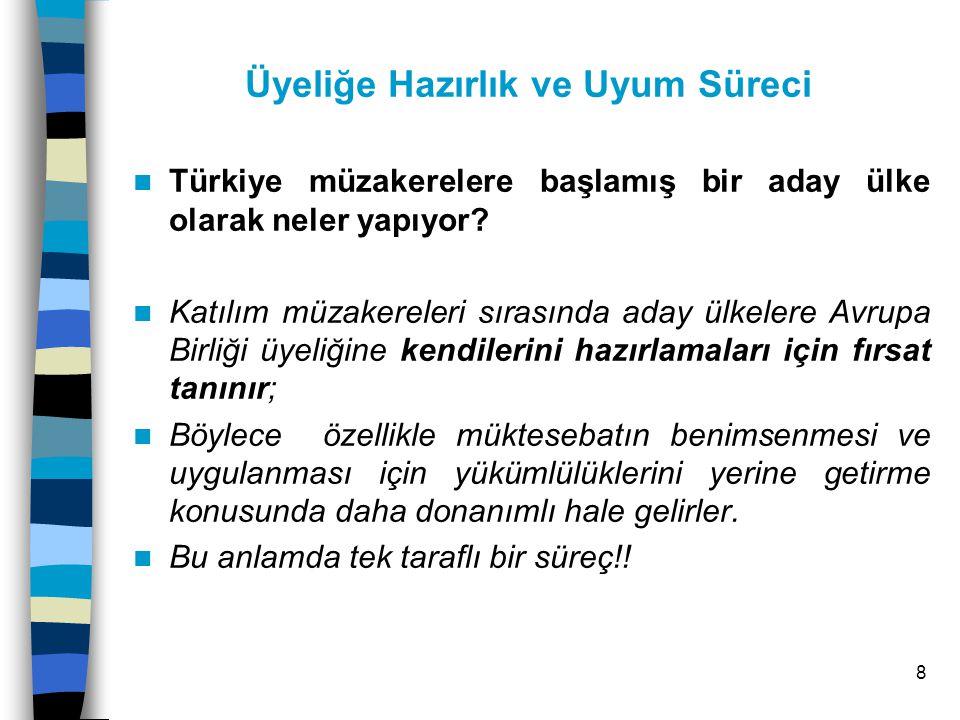 8 Üyeliğe Hazırlık ve Uyum Süreci Türkiye müzakerelere başlamış bir aday ülke olarak neler yapıyor.