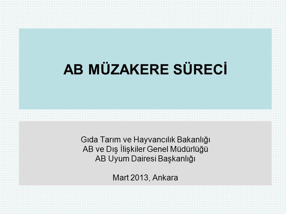 AB MÜZAKERE SÜRECİ Gıda Tarım ve Hayvancılık Bakanlığı AB ve Dış İlişkiler Genel Müdürlüğü AB Uyum Dairesi Başkanlığı Mart 2013, Ankara
