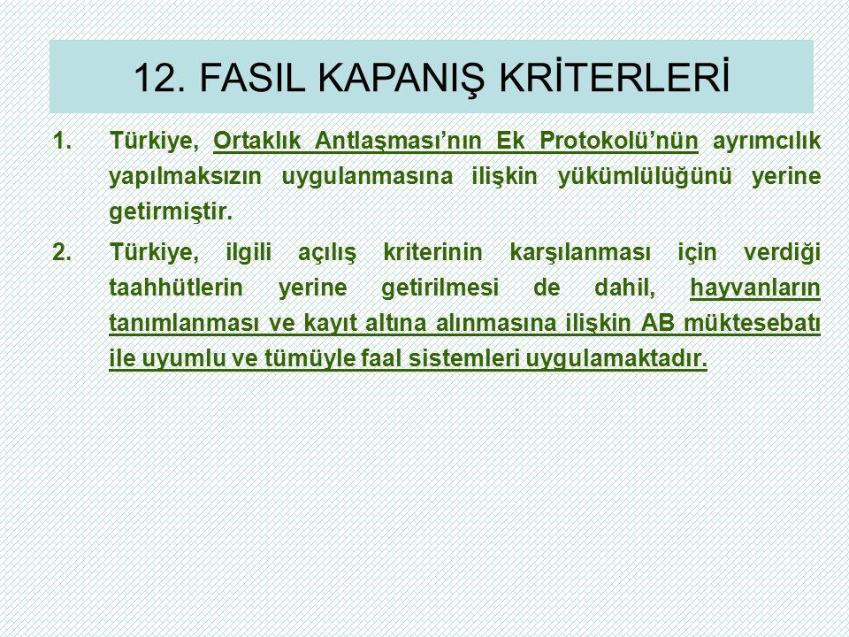 1.Türkiye, Ortaklık Antlaşması'nın Ek Protokolü'nün ayrımcılık yapılmaksızın uygulanmasına ilişkin yükümlülüğünü yerine getirmiştir. 2.Türkiye, ilgili