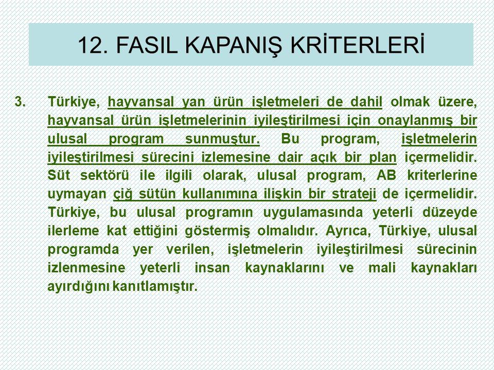3.Türkiye, hayvansal yan ürün işletmeleri de dahil olmak üzere, hayvansal ürün işletmelerinin iyileştirilmesi için onaylanmış bir ulusal program sunmuştur.