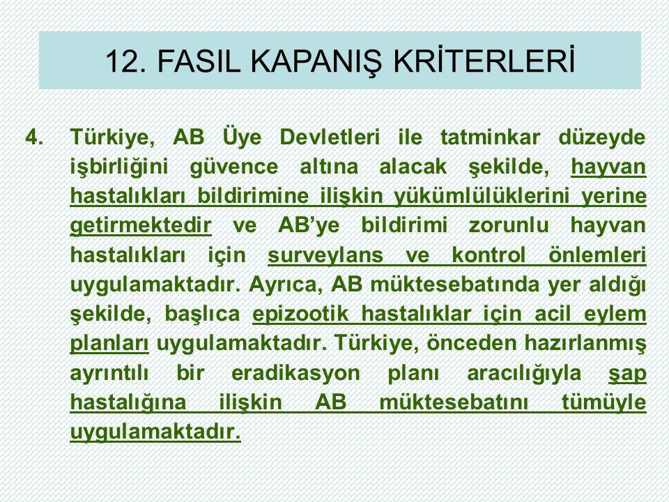 4.Türkiye, AB Üye Devletleri ile tatminkar düzeyde işbirliğini güvence altına alacak şekilde, hayvan hastalıkları bildirimine ilişkin yükümlülüklerini yerine getirmektedir ve AB'ye bildirimi zorunlu hayvan hastalıkları için surveylans ve kontrol önlemleri uygulamaktadır.