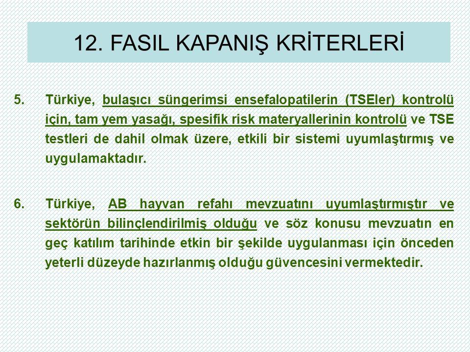 5.Türkiye, bulaşıcı süngerimsi ensefalopatilerin (TSEler) kontrolü için, tam yem yasağı, spesifik risk materyallerinin kontrolü ve TSE testleri de dah