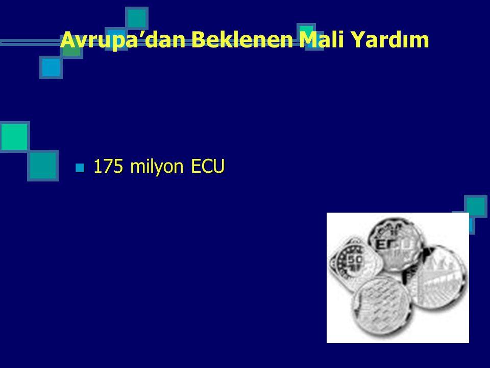 Avrupa'dan Beklenen Mali Yardım 175 milyon ECU 175 milyon ECU