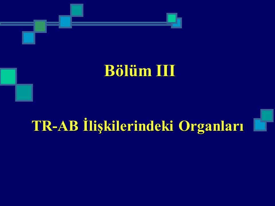 Bölüm III TR-AB İlişkilerindeki Organları