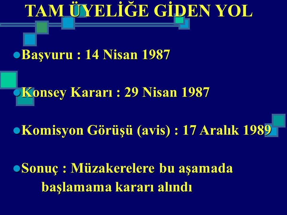 TAM ÜYELİĞE GİDEN YOL Başvuru : 14 Nisan 1987 Başvuru : 14 Nisan 1987 Konsey Kararı : 29 Nisan 1987 Konsey Kararı : 29 Nisan 1987 Komisyon Görüşü (avi