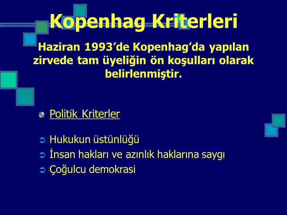 Kopenhag Kriterleri Politik Kriterler  Hukukun üstünlüğü  İnsan hakları ve azınlık haklarına saygı  Çoğulcu demokrasi Haziran 1993'de Kopenhag'da y