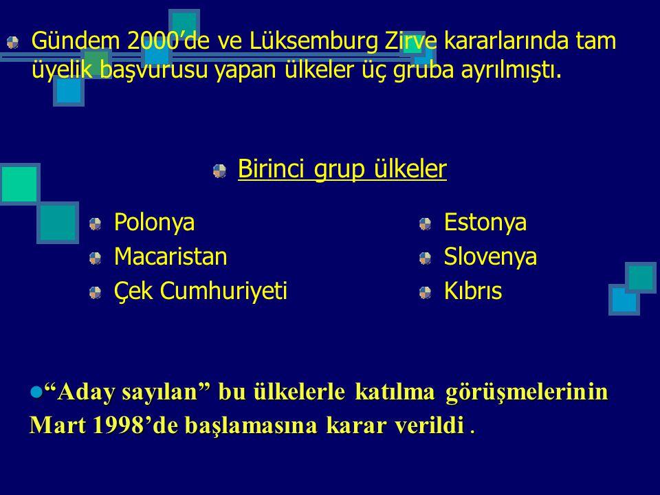 Gündem 2000'de ve Lüksemburg Zirve kararlarında tam üyelik başvurusu yapan ülkeler üç gruba ayrılmıştı. Birinci grup ülkeler Polonya Macaristan Çek Cu