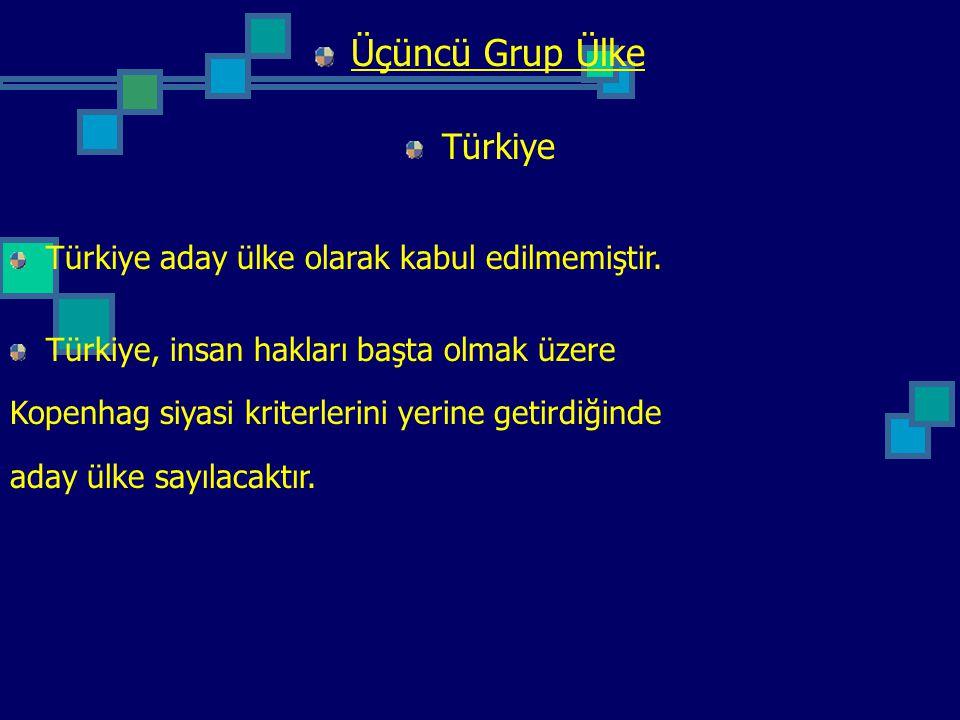 Üçüncü Grup Ülke Türkiye Türkiye aday ülke olarak kabul edilmemiştir. Türkiye, insan hakları başta olmak üzere Kopenhag siyasi kriterlerini yerine get