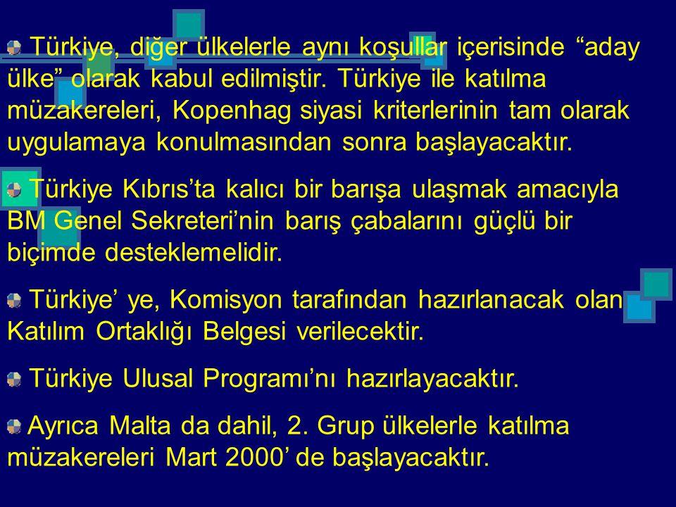 """Türkiye, diğer ülkelerle aynı koşullar içerisinde """"aday ülke"""" olarak kabul edilmiştir. Türkiye ile katılma müzakereleri, Kopenhag siyasi kriterlerinin"""