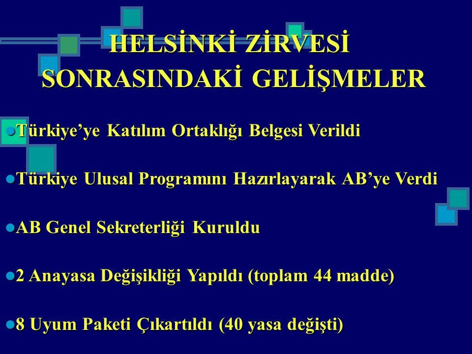 HELSİNKİ ZİRVESİ SONRASINDAKİ GELİŞMELER Türkiye'ye Katılım Ortaklığı Belgesi Verildi Türkiye'ye Katılım Ortaklığı Belgesi Verildi Türkiye Ulusal Prog