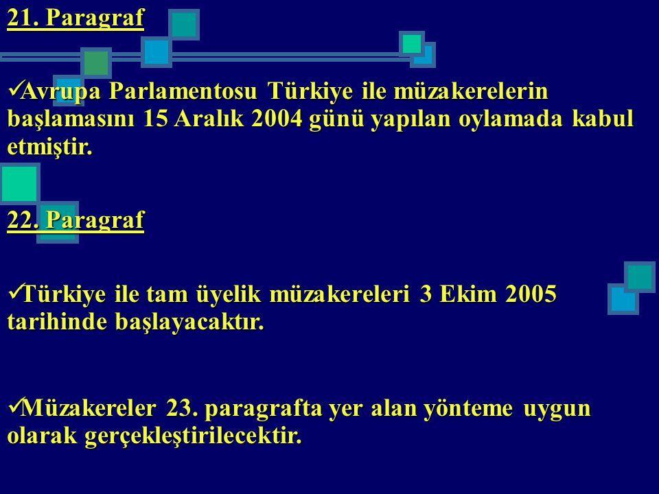 21. Paragraf Avrupa Parlamentosu Türkiye ile müzakerelerin başlamasını 15 Aralık 2004 günü yapılan oylamada kabul etmiştir. Avrupa Parlamentosu Türkiy