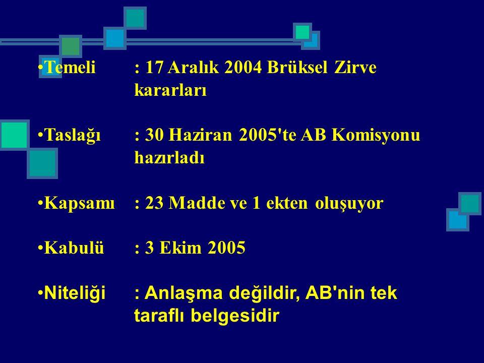 Temeli: 17 Aralık 2004 Brüksel Zirve kararları Taslağı: 30 Haziran 2005'te AB Komisyonu hazırladı Kapsamı: 23 Madde ve 1 ekten oluşuyor Kabulü: 3 Ekim
