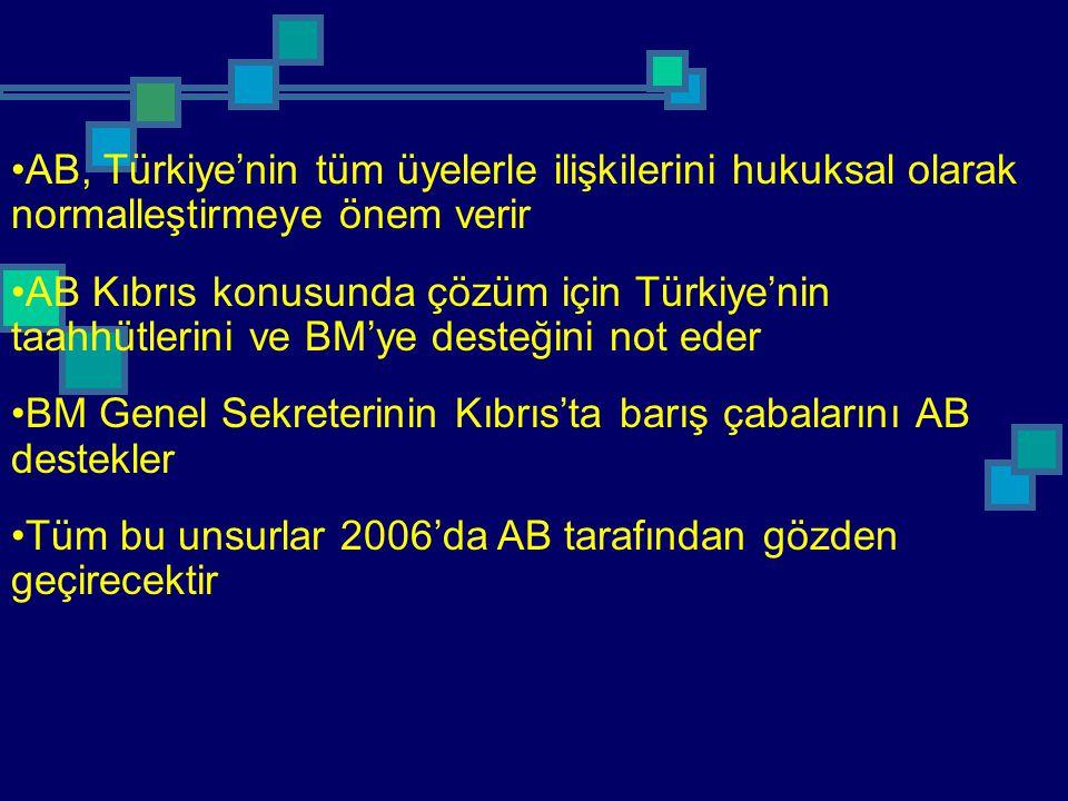 AB, Türkiye'nin tüm üyelerle ilişkilerini hukuksal olarak normalleştirmeye önem verir AB Kıbrıs konusunda çözüm için Türkiye'nin taahhütlerini ve BM'y