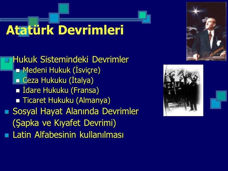 Atatürk Devrimleri Hukuk Sistemindeki Devrimler Hukuk Sistemindeki Devrimler Medeni Hukuk (İsviçre) Medeni Hukuk (İsviçre) Ceza Hukuku (İtalya) Ceza H