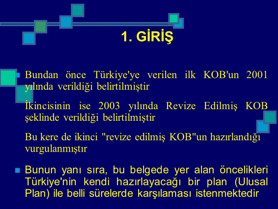1. GİRİŞ Bundan önce Türkiye'ye verilen ilk KOB'un 2001 yılında verildiği belirtilmiştir İkincisinin ise 2003 yılında Revize Edilmiş KOB şeklinde veri