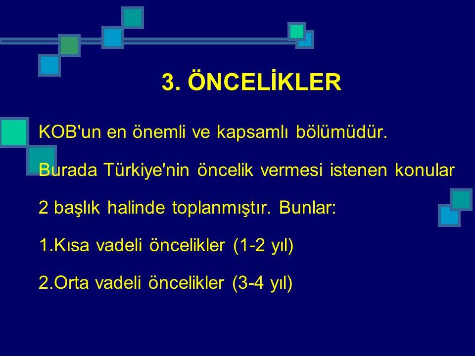 3. ÖNCELİKLER KOB'un en önemli ve kapsamlı bölümüdür. Burada Türkiye'nin öncelik vermesi istenen konular 2 başlık halinde toplanmıştır. Bunlar: 1.Kısa