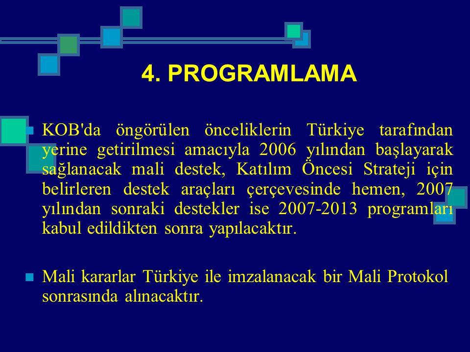 4. PROGRAMLAMA KOB'da öngörülen önceliklerin Türkiye tarafından yerine getirilmesi amacıyla 2006 yılından başlayarak sağlanacak mali destek, Katılım Ö