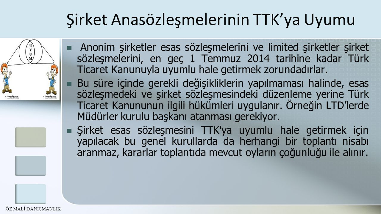 Şirket Anasözleşmelerinin TTK'ya Uyumu Anonim şirketler esas sözleşmelerini ve limited şirketler şirket sözleşmelerini, en geç 1 Temmuz 2014 tarihine