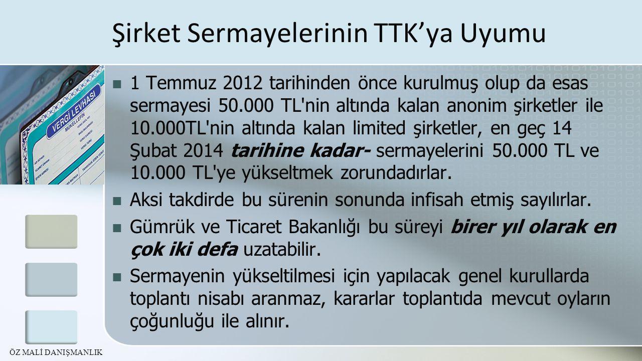 Şirket Sermayelerinin TTK'ya Uyumu 1 Temmuz 2012 tarihinden önce kurulmuş olup da esas sermayesi 50.000 TL'nin altında kalan anonim şirketler ile 10.0