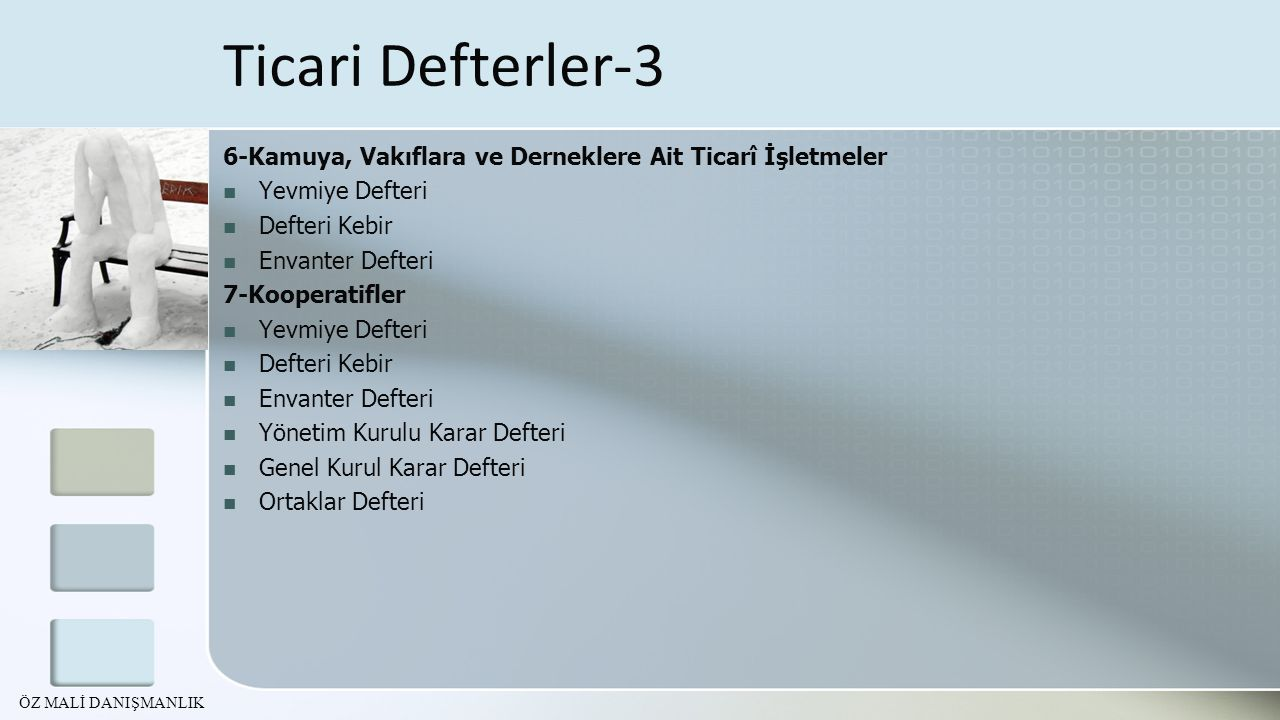 6-Kamuya, Vakıflara ve Derneklere Ait Ticarî İşletmeler Yevmiye Defteri Defteri Kebir Envanter Defteri 7-Kooperatifler Yevmiye Defteri Defteri Kebir E