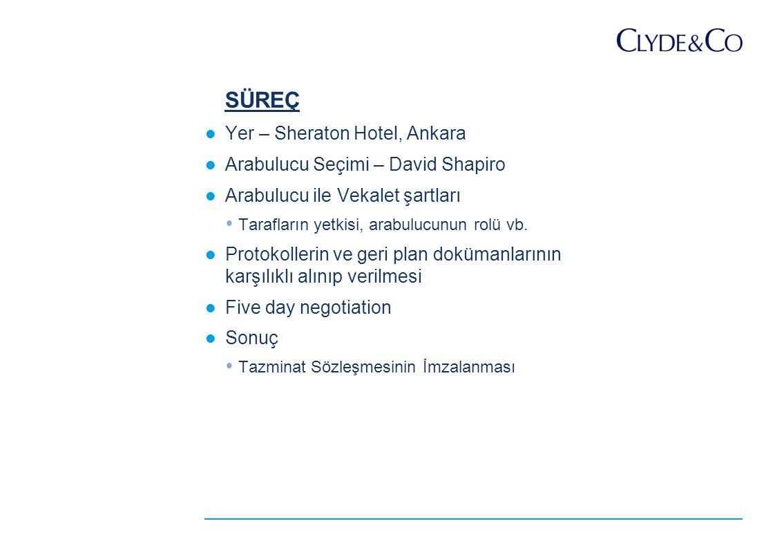 SÜREÇ Yer – Sheraton Hotel, Ankara Arabulucu Seçimi – David Shapiro Arabulucu ile Vekalet şartları  Tarafların yetkisi, arabulucunun rolü vb.