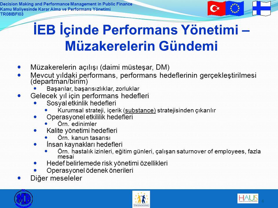 Decision Making and Performance Management in Public Finance Kamu Maliyesinde Karar Alma ve Performans Yönetimi TR08IBFI03 4 İEB İçinde Performans Yönetimi – Müzakerelerin Gündemi Müzakerelerin açılışı (daimi müsteşar, DM) Mevcut yıldaki performans, performans hedeflerinin gerçekleştirilmesi (departman/birim) Başarılar, başarısızlıklar, zorluklar Gelecek yıl için performans hedefleri Sosyal etkinlik hedefleri Kurumsal strateji, içerik (substance) stratejisinden çıkarılır Operasyonel etkililik hedefleri Örn.