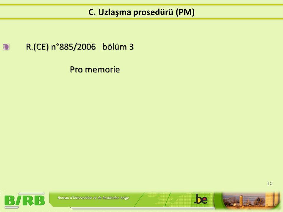 R.(CE) n°885/2006 bölüm 3 Pro memorie 10