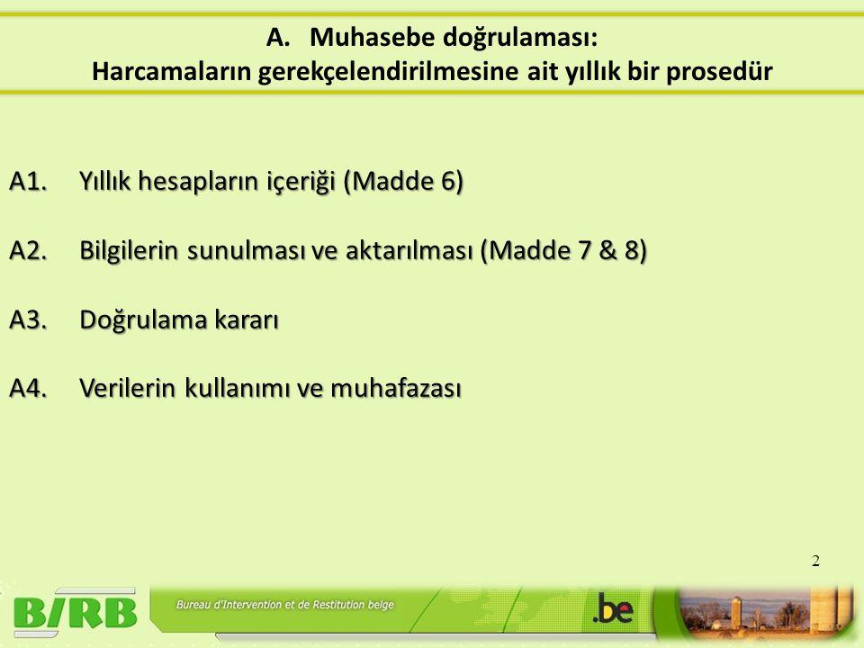 A1. Yıllık hesapların içeriği (Madde 6) A2. Bilgilerin sunulması ve aktarılması (Madde 7 & 8) A3.