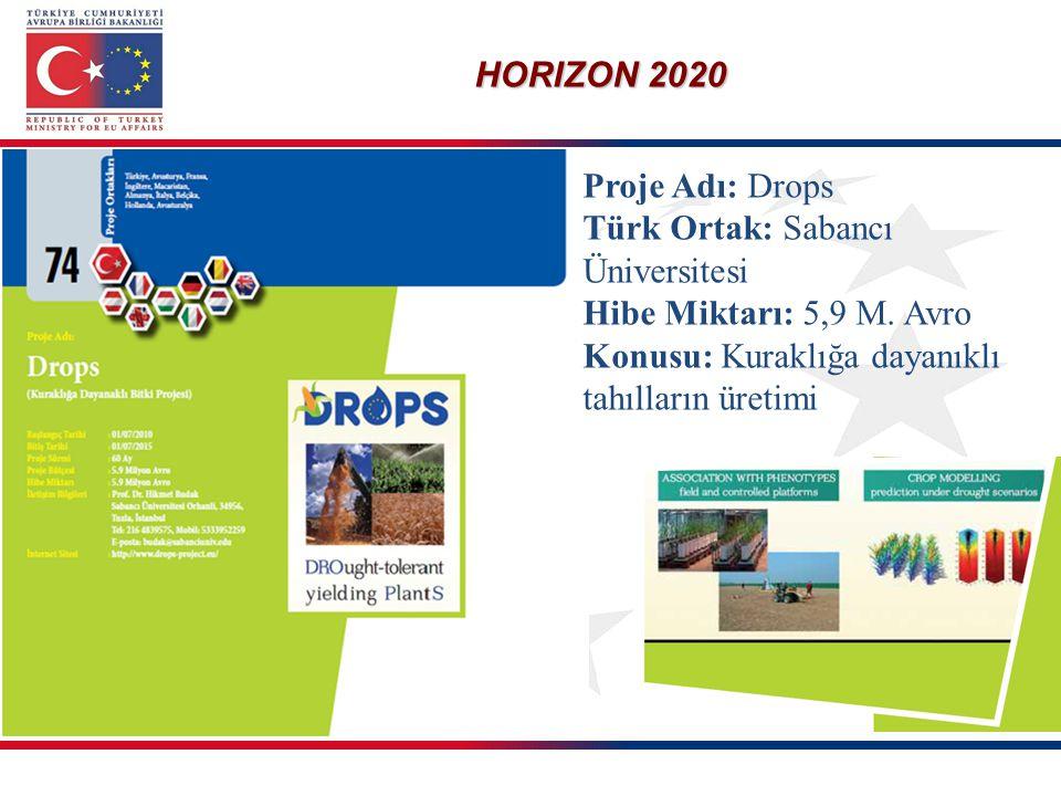 HORIZON 2020 Proje Adı: Drops Türk Ortak: Sabancı Üniversitesi Hibe Miktarı: 5,9 M. Avro Konusu: Kuraklığa dayanıklı tahılların üretimi