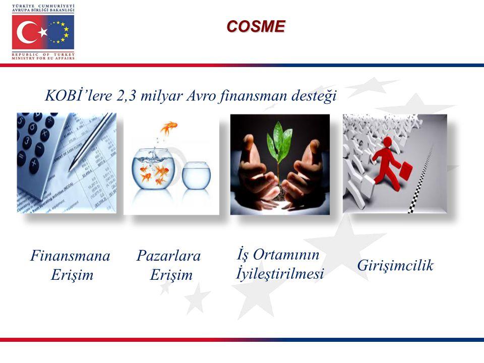 COSME KOBİ'lere 2,3 milyar Avro finansman desteği Finansmana Erişim Pazarlara Erişim İş Ortamının İyileştirilmesi Girişimcilik