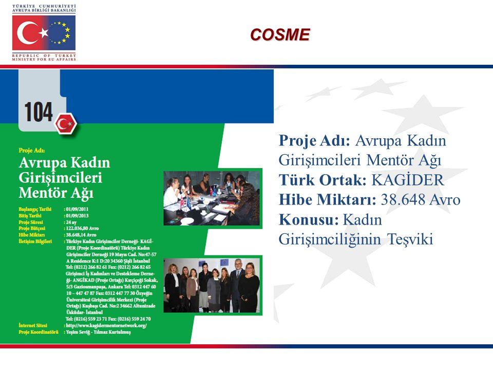 COSME Proje Adı: Avrupa Kadın Girişimcileri Mentör Ağı Türk Ortak: KAGİDER Hibe Miktarı: 38.648 Avro Konusu: Kadın Girişimciliğinin Teşviki
