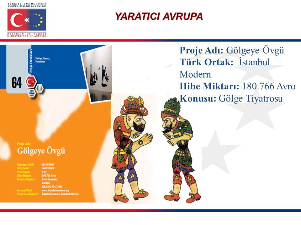 YARATICI AVRUPA Proje Adı: Gölgeye Övgü Türk Ortak: İstanbul Modern Hibe Miktarı: 180.766 Avro Konusu: Gölge Tiyatrosu