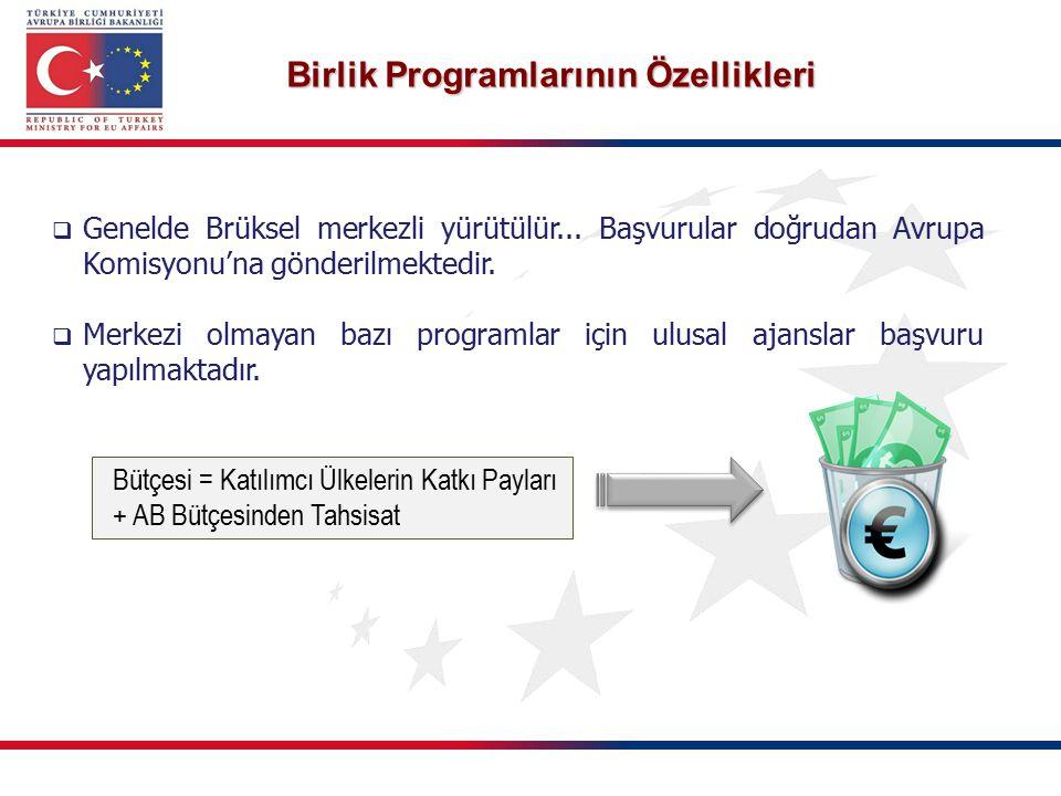 Birlik Programlarının Özellikleri  Genelde Brüksel merkezli yürütülür... Başvurular doğrudan Avrupa Komisyonu'na gönderilmektedir.  Merkezi olmayan