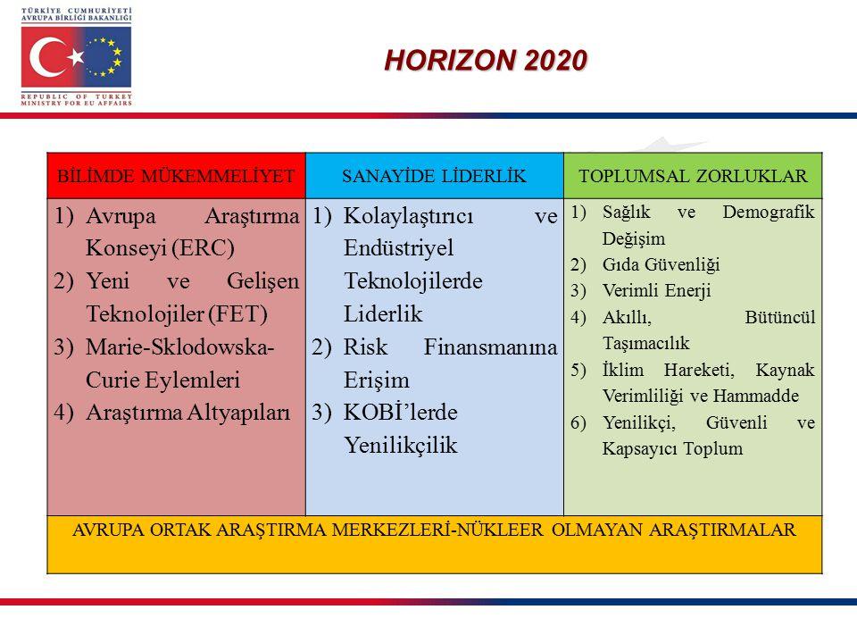 HORIZON 2020 BİLİMDE MÜKEMMELİYETSANAYİDE LİDERLİKTOPLUMSAL ZORLUKLAR 1)Avrupa Araştırma Konseyi (ERC) 2)Yeni ve Gelişen Teknolojiler (FET) 3)Marie-Sk
