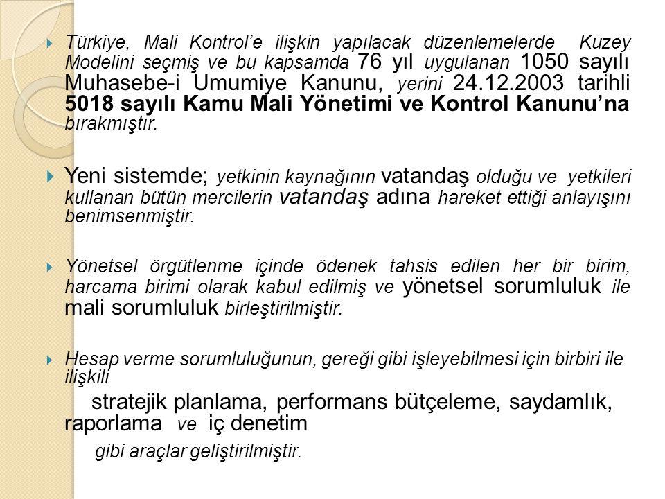  Türkiye, Mali Kontrol'e ilişkin yapılacak düzenlemelerde Kuzey Modelini seçmiş ve bu kapsamda 76 yıl uygulanan 1050 sayılı Muhasebe-i Umumiye Kanunu