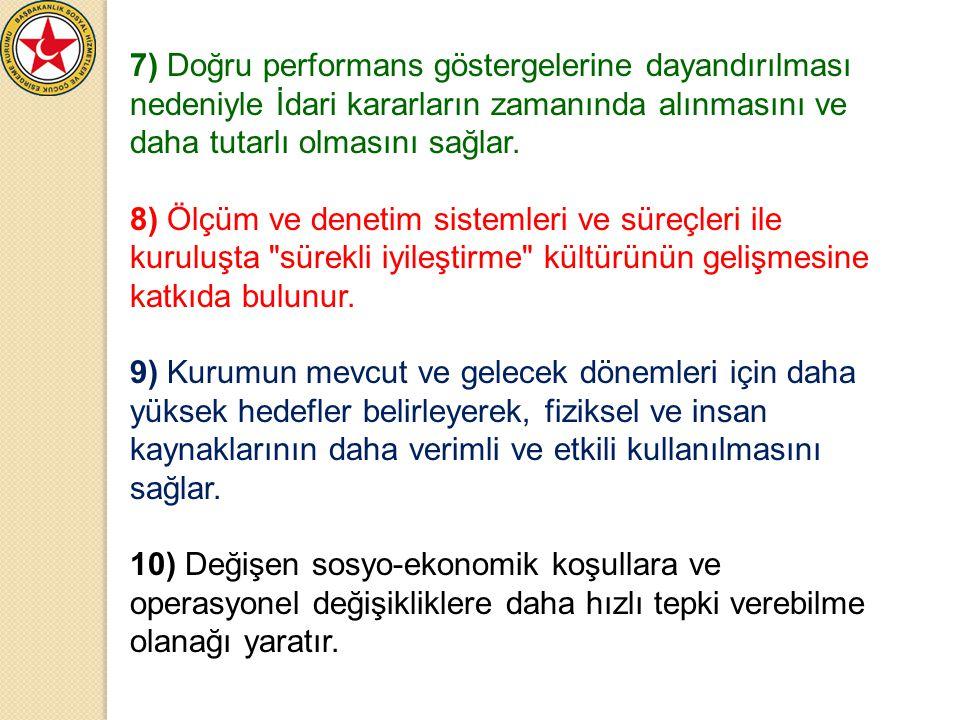 7) Doğru performans göstergelerine dayandırılması nedeniyle İdari kararların zamanında alınmasını ve daha tutarlı olmasını sağlar. 8) Ölçüm ve denetim