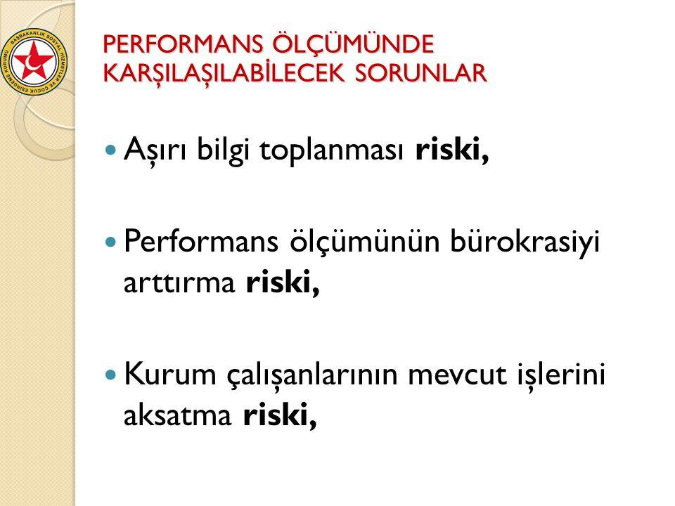 Aşırı bilgi toplanması riski, Performans ölçümünün bürokrasiyi arttırma riski, Kurum çalışanlarının mevcut işlerini aksatma riski, PERFORMANS ÖLÇÜMÜND