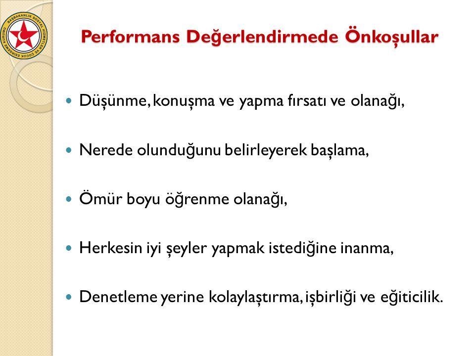 Performans De ğ erlendirmede Önkoşullar Performans De ğ erlendirmede Önkoşullar Düşünme, konuşma ve yapma fırsatı ve olana ğ ı, Nerede olundu ğ unu be