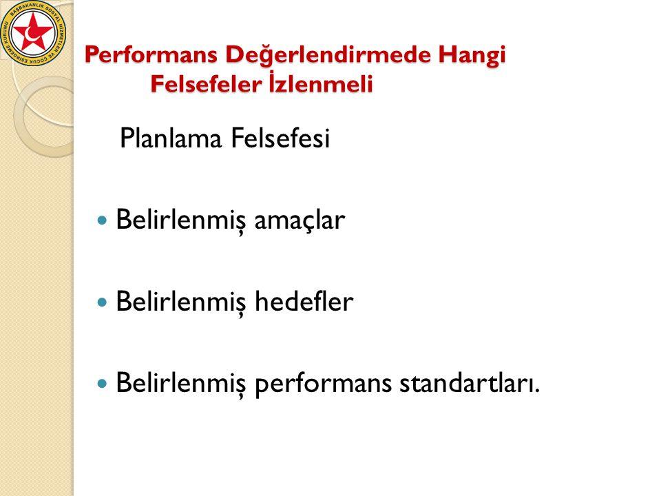 Performans De ğ erlendirmede Hangi Felsefeler İ zlenmeli Planlama Felsefesi Belirlenmiş amaçlar Belirlenmiş hedefler Belirlenmiş performans standartla