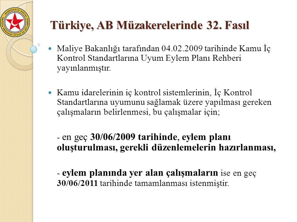 Türkiye, AB Müzakerelerinde 32. Fasıl Maliye Bakanlığı tarafından 04.02.2009 tarihinde Kamu İç Kontrol Standartlarına Uyum Eylem Planı Rehberi yayınla