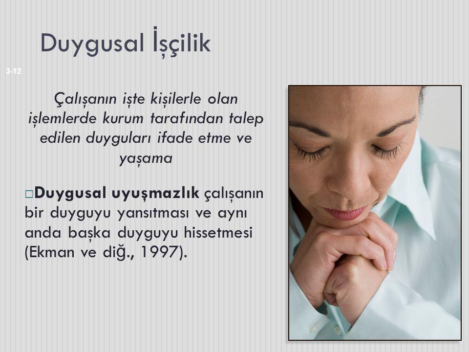 Duygusal İ şçilik 3-12 Çalışanın işte kişilerle olan işlemlerde kurum tarafından talep edilen duyguları ifade etme ve yaşama  Duygusal uyuşmazlık çal