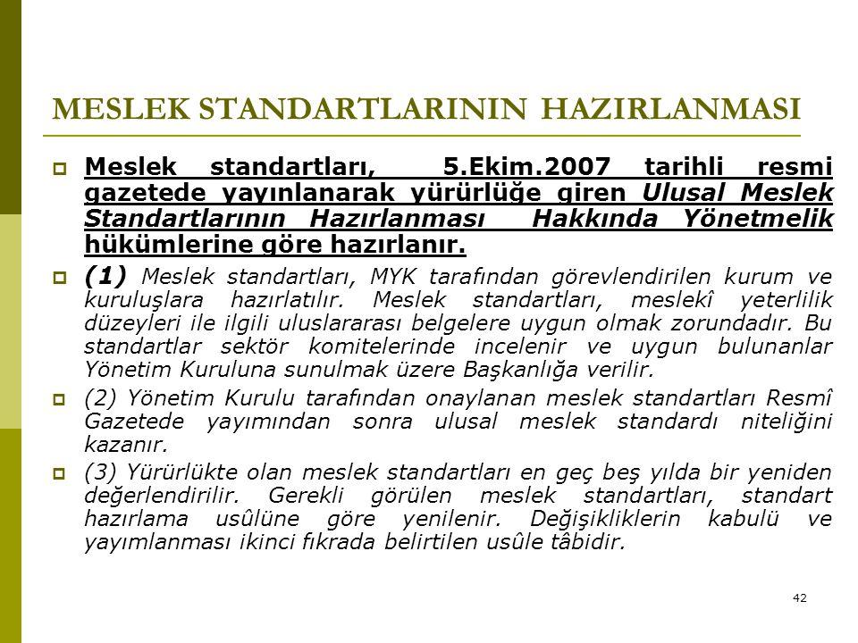 42 MESLEK STANDARTLARININ HAZIRLANMASI  Meslek standartları, 5.Ekim.2007 tarihli resmi gazetede yayınlanarak yürürlüğe giren Ulusal Meslek Standartla