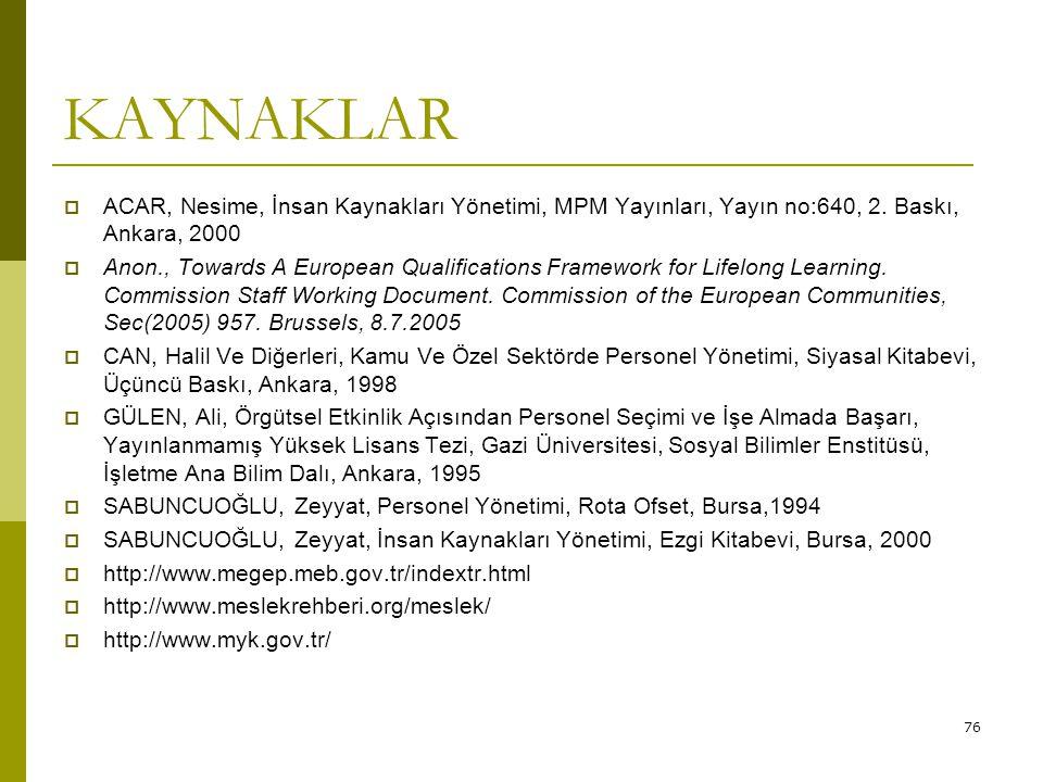76 KAYNAKLAR  ACAR, Nesime, İnsan Kaynakları Yönetimi, MPM Yayınları, Yayın no:640, 2. Baskı, Ankara, 2000  Anon., Towards A European Qualifications