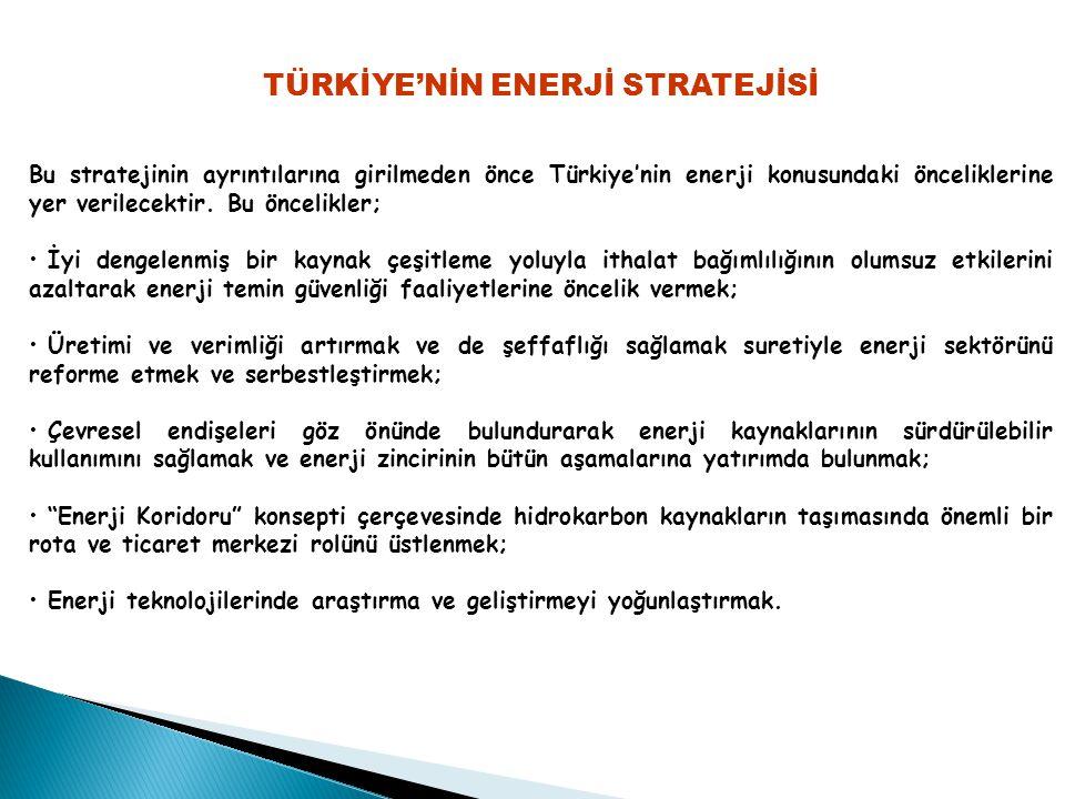 TÜRKİYE'NİN ENERJİ STRATEJİSİ Bu stratejinin ayrıntılarına girilmeden önce Türkiye'nin enerji konusundaki önceliklerine yer verilecektir.