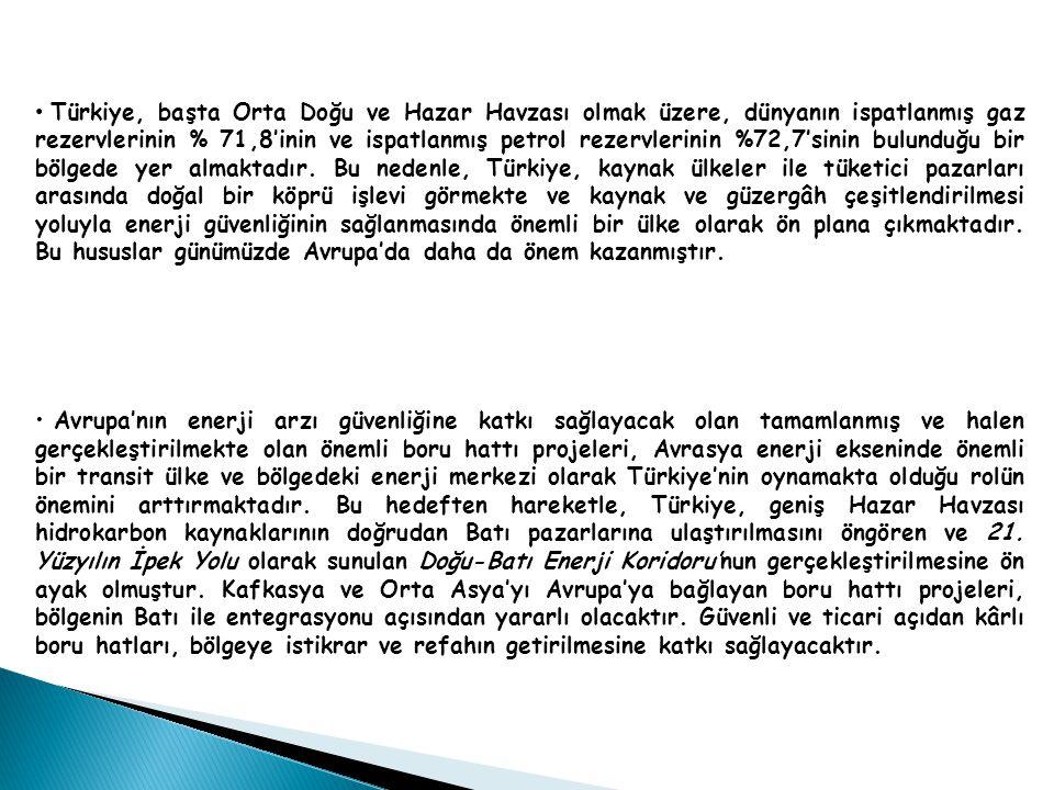 Türkiye, başta Orta Doğu ve Hazar Havzası olmak üzere, dünyanın ispatlanmış gaz rezervlerinin % 71,8'inin ve ispatlanmış petrol rezervlerinin %72,7'sinin bulunduğu bir bölgede yer almaktadır.