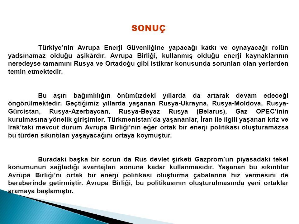 SONUÇ Türkiye'nin Avrupa Enerji Güvenliğine yapacağı katkı ve oynayacağı rolün yadsınamaz olduğu aşikârdır.