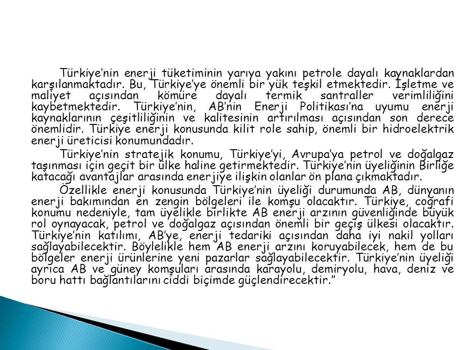 Türkiye'nin enerji tüketiminin yarıya yakını petrole dayalı kaynaklardan karşılanmaktadır.